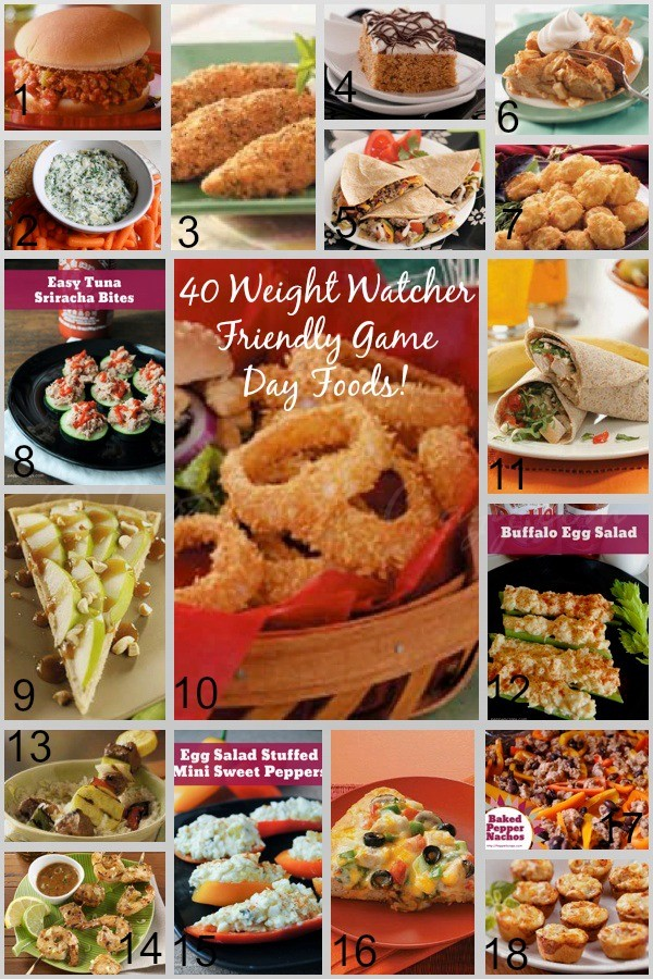 40 Weight Watcher Friendly Game Day Food! Make and take one or two dishes with you, will help  a great deal. Going to a game? Foods you can take with you.