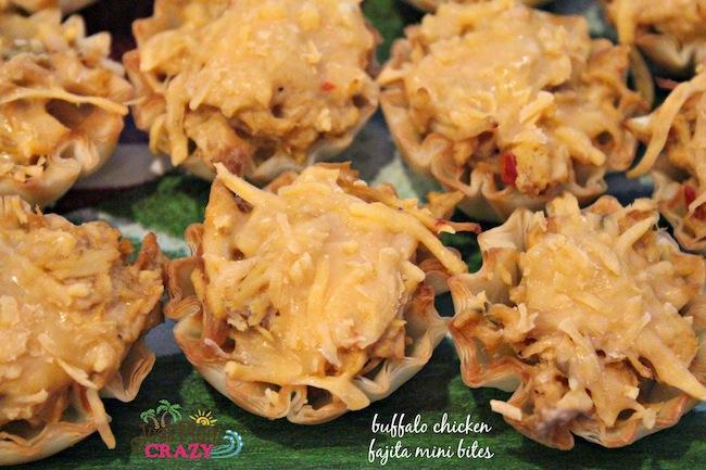 Weight Watchers friendly game day appetizer Buffalo Chicken Fajita Mini Bites made with chicken fajita, Naturally Fresh lite Bleu Cheese, & FF Cheddar.