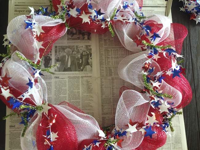 Welcome to day 6 of 12 days of Summer Celebration. We could choose anything we wanted to make, recipe, craft, DIY, etc. I made a Patriotic Deco Mesh Wreath.