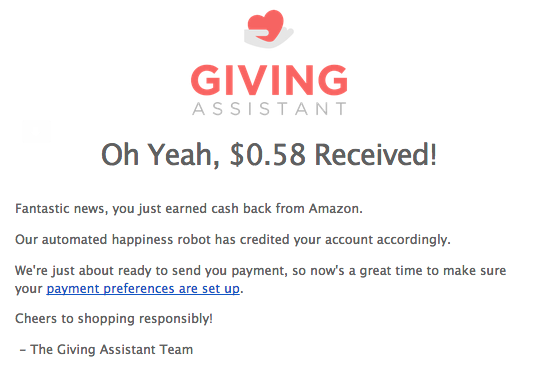 Create an account on Giving Assistant. For July, when you sign up & make a purchase on Amazon & earn cash back....you also earn a $10 Amazon Gift Card!