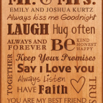 I chose the Cherry Plaque from Anything Engraving to remind us that a successful marriage takes work. Sometimes it's the little things that count!