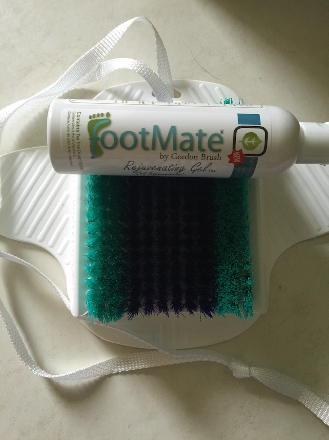 The Footmate System comes with Rejuvenating Gel & the FootMate Foot Scrubber. It has suction cups so that it sticks to the shower floor or bathtub.