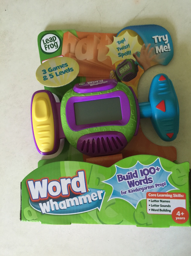 The Word Whammer gets kids jamming on phonics skills as they spin, push & twist the handles to identify letters & build words. Suggested age for it is 4+.