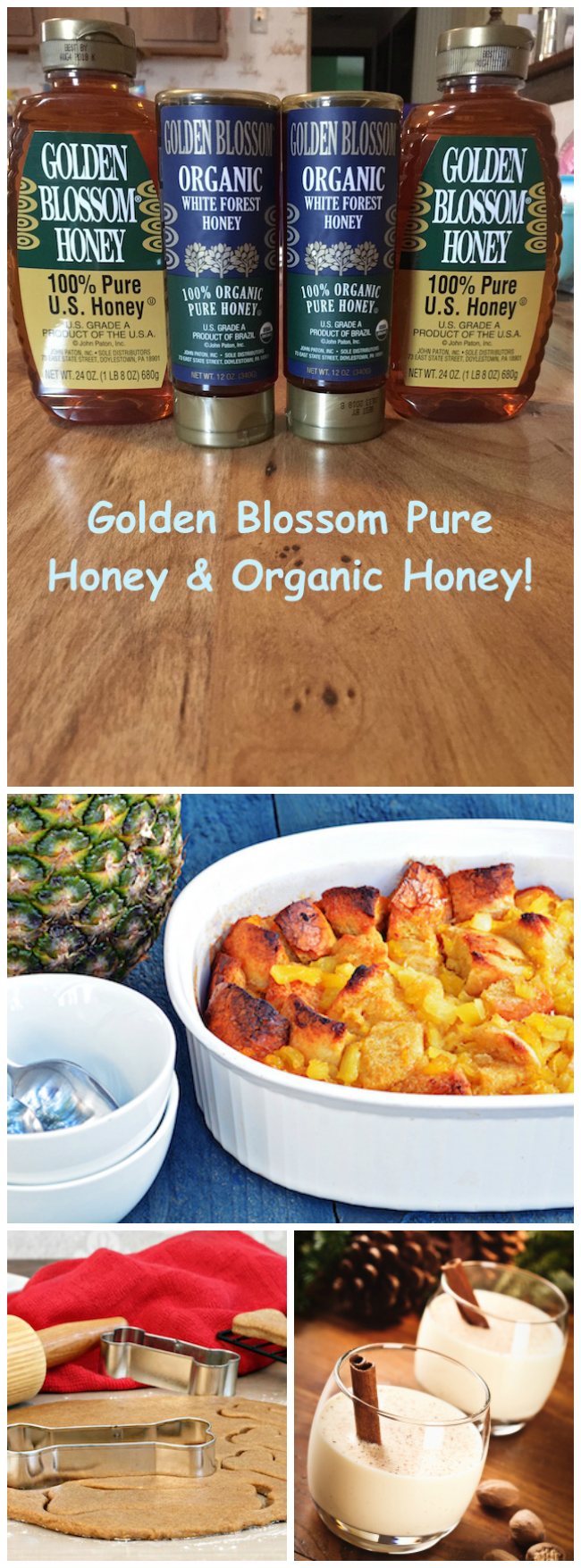 GOLDEN BLOSSOM HONEY is composed of three honeys; extra-white clover, sage buckwheat and orange blossom & gives it a distinct flavor, color & fragrance.