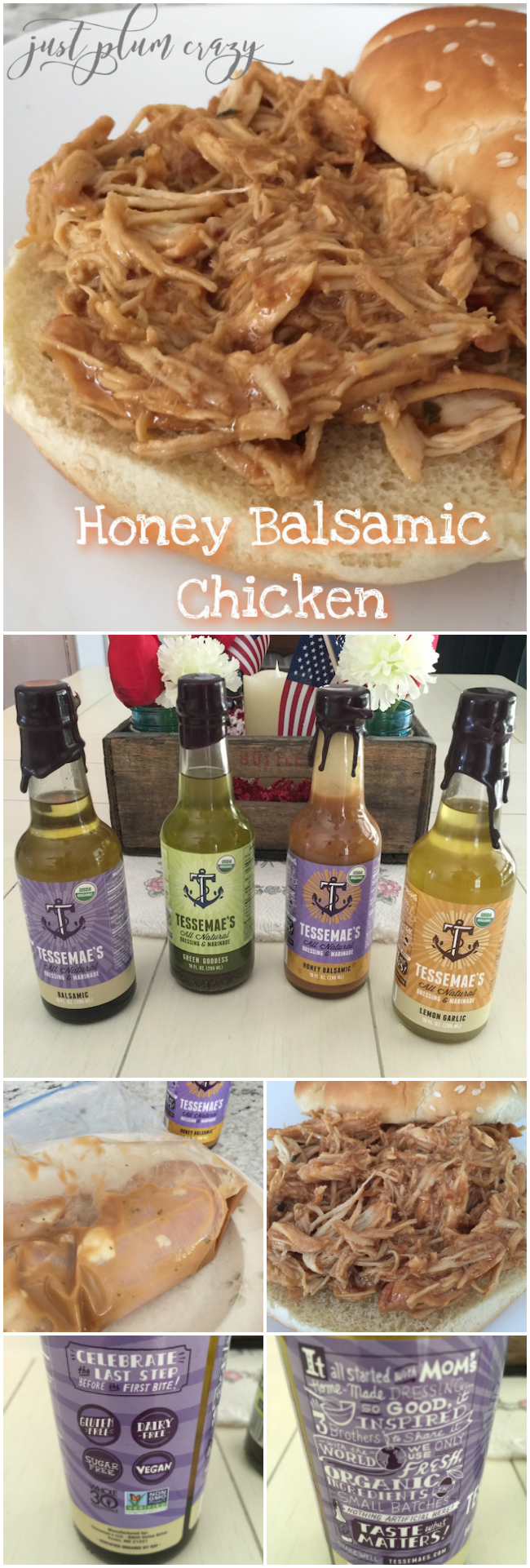 Honey Balsamic Chicken made with Tessemae's All Natural that are USDA organic, gluten free, non-gmo, vegan & contain no added sugar or xantham gum!