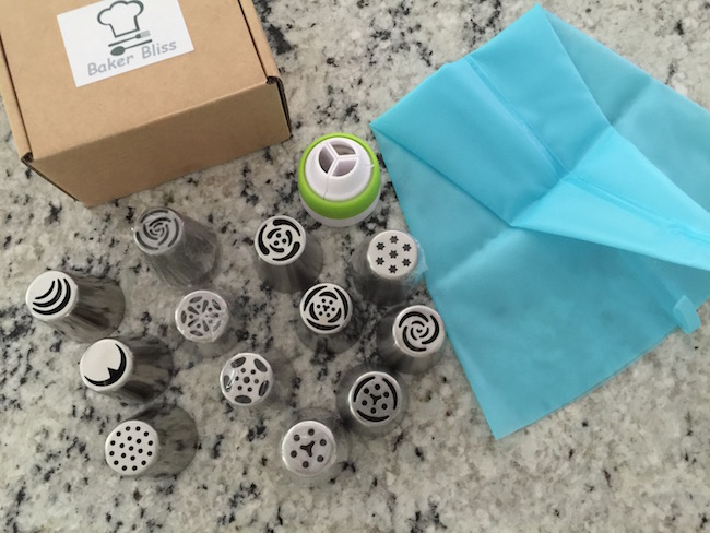 12 Russian Piping Tips, pastry bag & adapter. I like that you can make a flower with one swipe and don't have to create each petal separately.