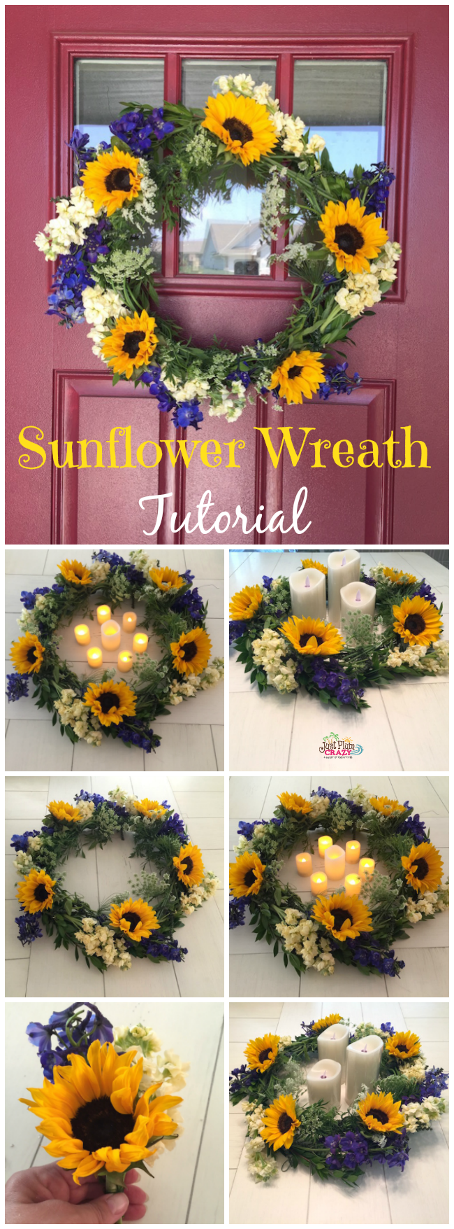 FiftyFlowers are wholesale flowers and have every kind of flower you are looking for for your event. I made a Sunflower Wreath and wedding corsage.