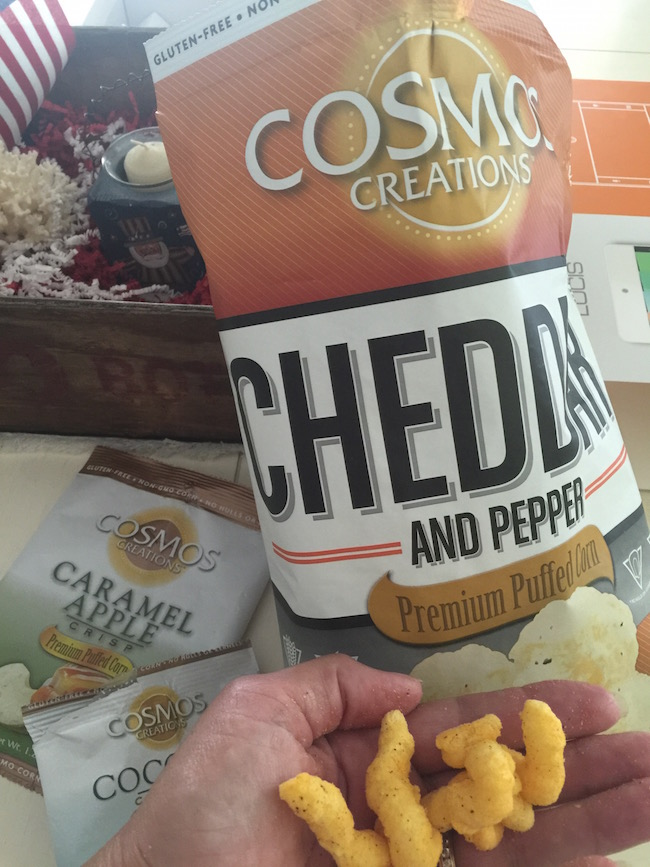 Cosmos Creations is not popcorn...it's premium puffed corn. It's non-GMO, gluten free, trans fat free & use natural ingredients.