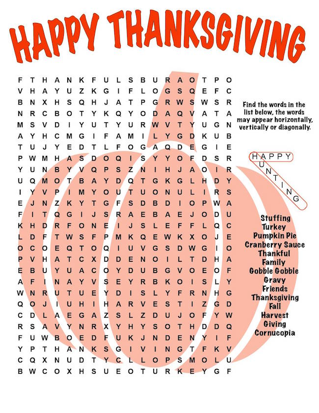 Reese's Turkeys recipe Thanksgiving Word Find free printable