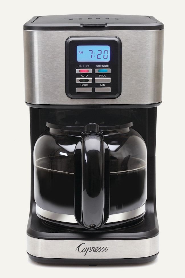 The Capresso coffee maker can brew up to twelve cups of coffee at a time, and makes a smooth, even brew to your desired strength!