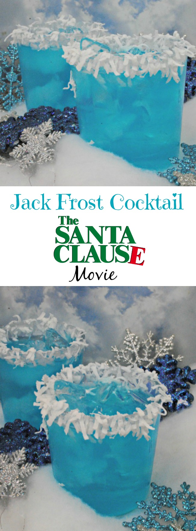 Last week I shared The Santa Clause movie cocktail recipe and today we have a fun Jack Frost Cocktail recipe from the movie also.
