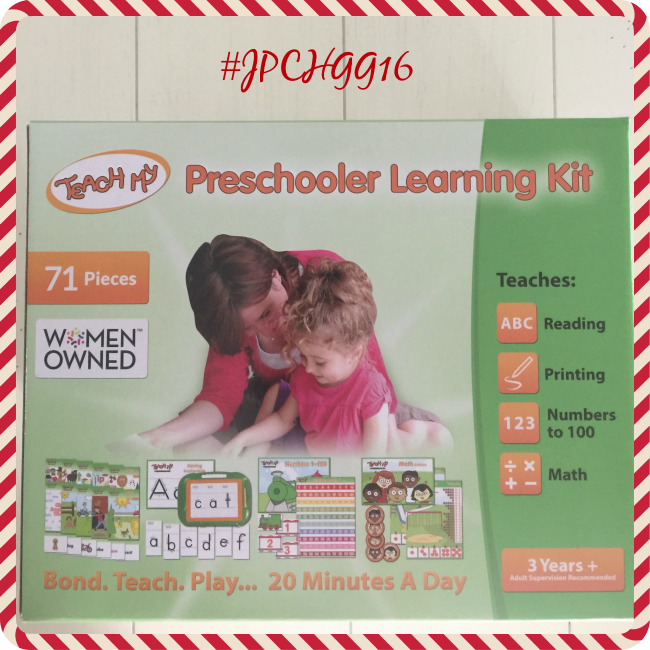 The Teach My Preschooler Learning Kit has everything you need, colors, ABC's, numbers and even comes with a self storing box.