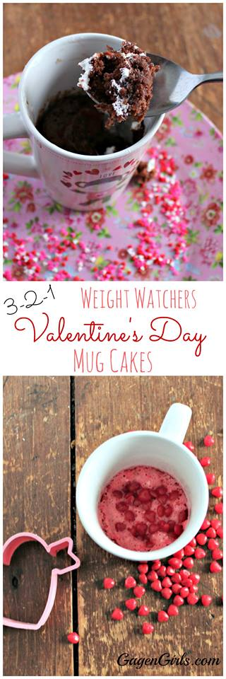 To still indulge in Valentine's Day treats but keep it low in Weight Watchers points, we created these two delicious 3-2-1 Mug Cakes!