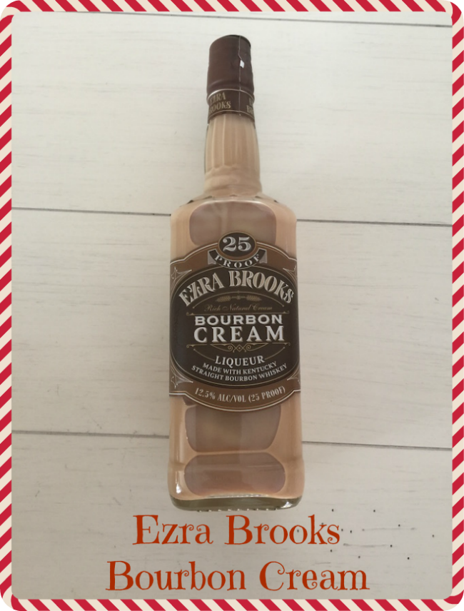 Ezra Brooks Bourbon Cream, a hint of cinnamon and nutmeg, it has a buttery, caramel, and toffee flavor & is only available in the fall and winter!