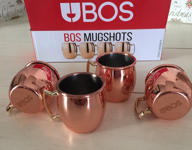 BOS Mugshots are copper- plated mini Moscow Mule Shot Mugs. They come in a set of four and the perfect fun and unique gift.