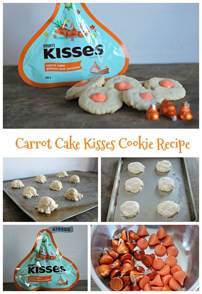 Easter means bunnies & bunnies mean carrots! How about a carrot cake inspired recipe this year as a special Easter treat, Carrot Cake Kisses Cookies recipe.