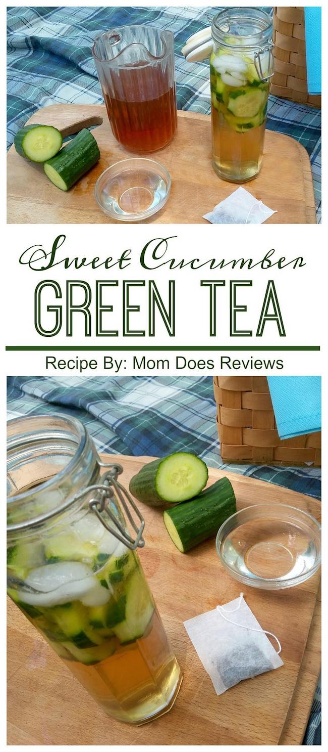 This delicious sweet cucumber green tea recipe is made with a cucumber simple syrup and served with fresh cucumbers and ice!