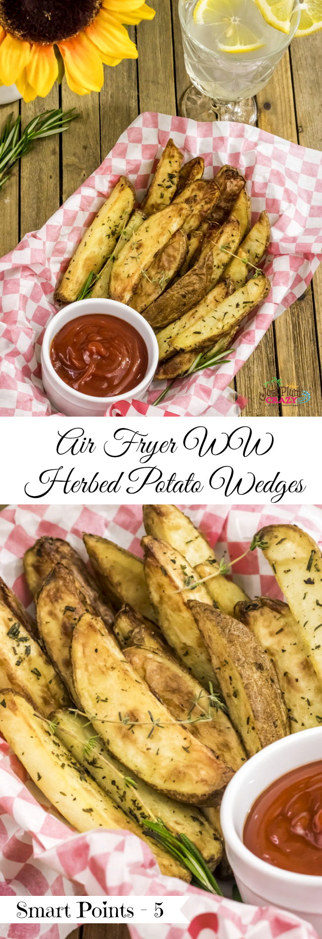 The Air Fryer Herbed Crispy Skin Potato Wedges Recipe is only 5 WW Smart Points and is great because you can still stay on program and eat foods you love!