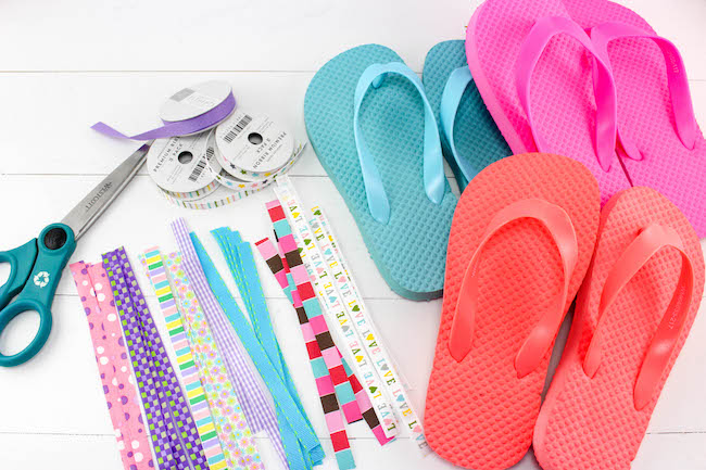 fun diy ribbon flip flops craft just plum crazy. Black Bedroom Furniture Sets. Home Design Ideas
