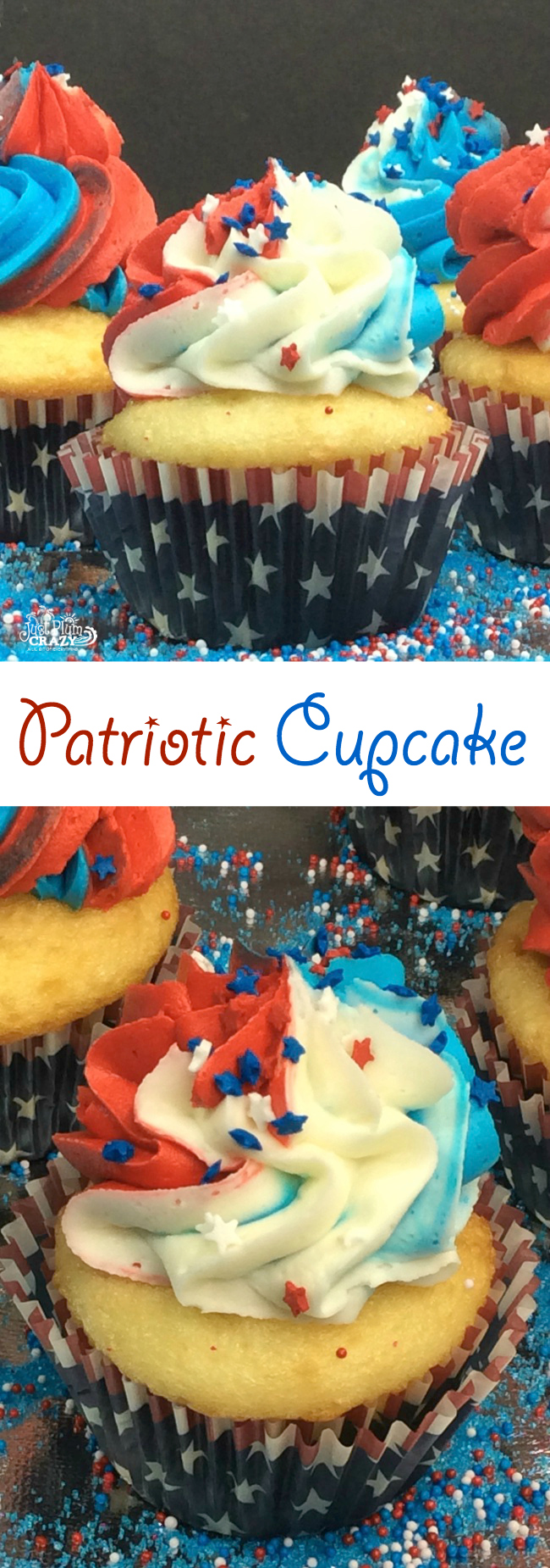 It's good to have a quick recipe that you can whip up for last minute plans that pop up yet still be festive. The Patriotic Cupcake recipe is just that.