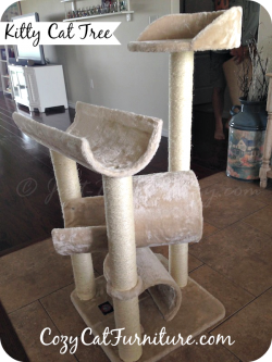 The Kitty Cat Tree house is 44 inches high and 20 in. wide. It has 4 spots for them to lay on, 2 tunnels, 1 cradle and 1 perch, 6 sisal scratching posts.