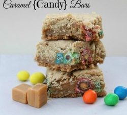 'Tis the season for gooey, delicious cookie bars! Caramel Candy Bars are one of my seasonal favorites. Make them Christmasy by adding red and green M&M's.