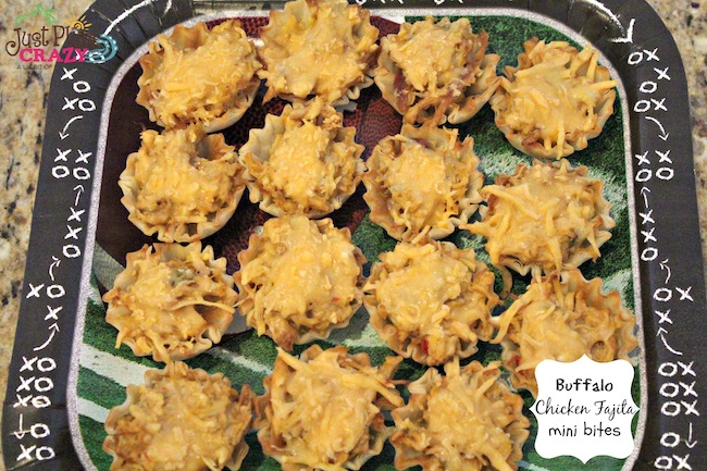 Weight Watchers friendly game day appetizer Buffalo Chicken Fajita Mini Bites made with chicken fajita, Naturally Fresh lite Bleu Cheese, & FF Cheddar.