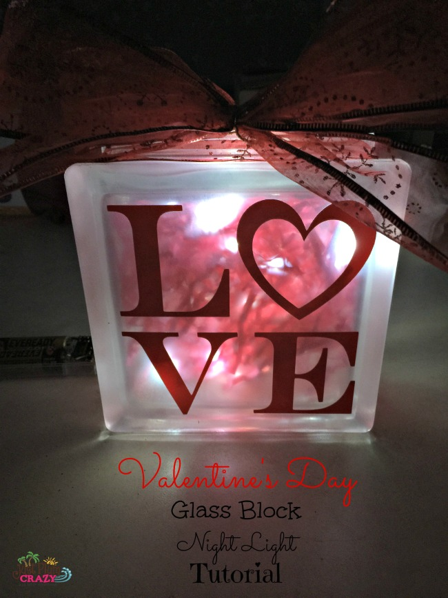 Glass block night light tutorial with a Valentine's Day theme.