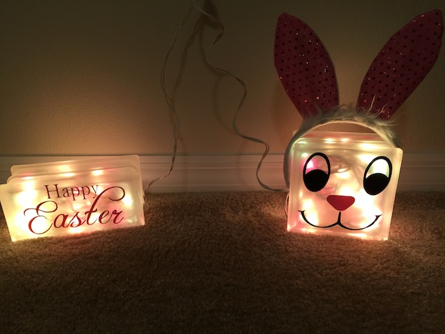 Easter Glass Blocks night light tutorial. Super easy to make and cheap. Repurpose the Valentine's Day Glass Block Night Light to save money.