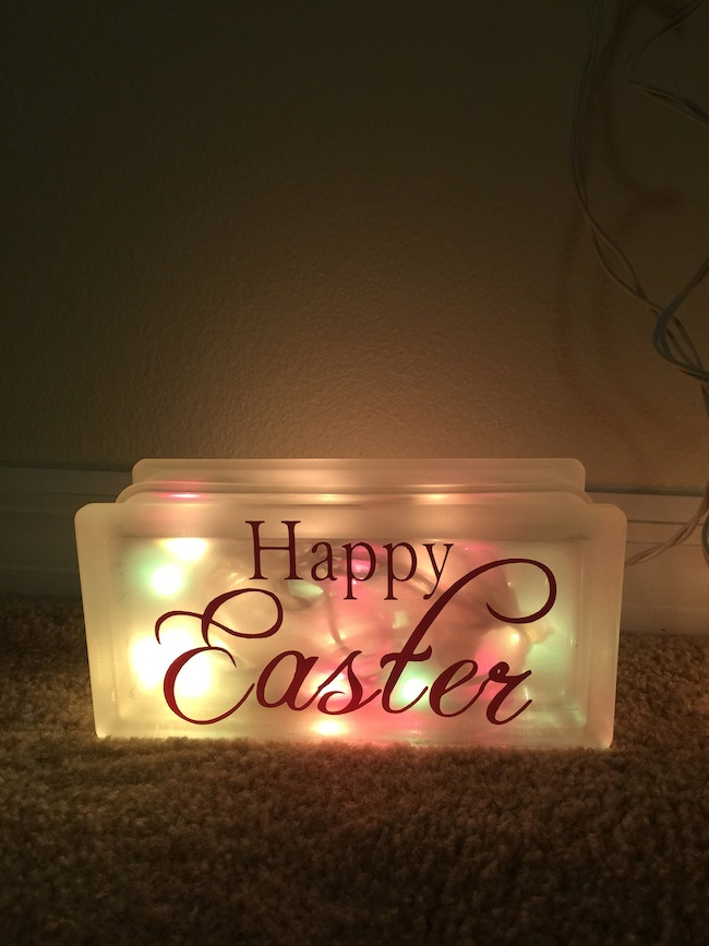 Easter Glass Block night light tutorial. Super easy to make and cheap. Repurpose the Valentine's Day Glass Block Night Light to save money.