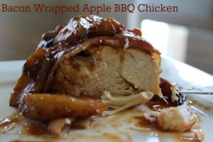 Today I have a Bacon Wrapped Apple BBQ Chicken Recipe. Who doesn't love bacon?! This recipe is actually a slow cooker recipe, so it's perfect for those days where you are playing outside all play and want to come in to a delicious BBQ dinner!