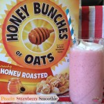 Peachy Strawberry Smoothie! #HoneyBunchesOfOats #ad @HBOats