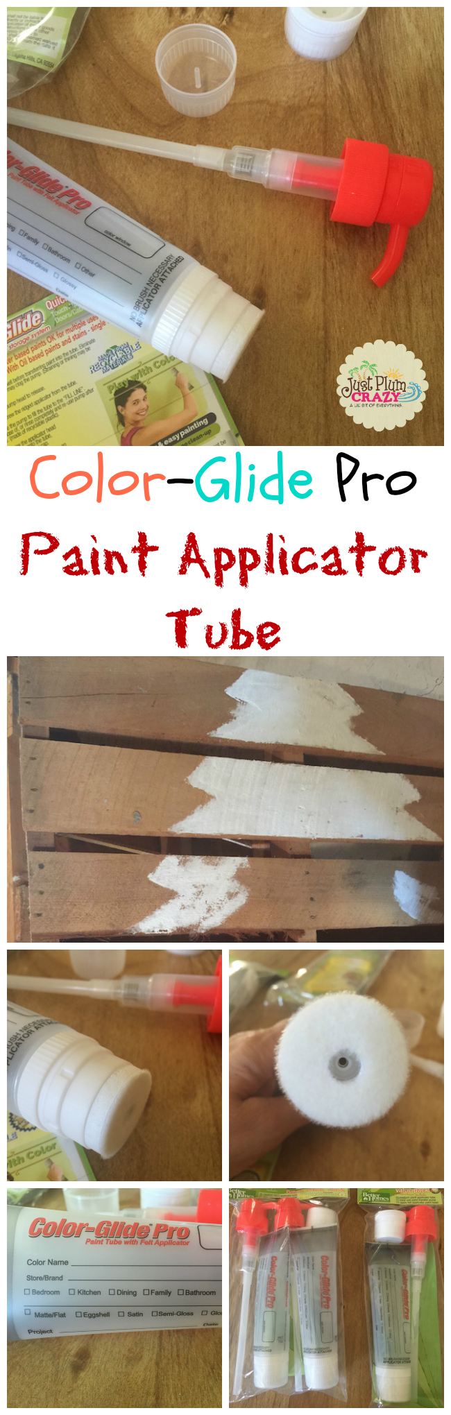The Color-Glide® Pro Paint Applicator Tube comes with a pump, an extra tip and the paint tube. The pump easily pumps paint into the paint applicator tube.