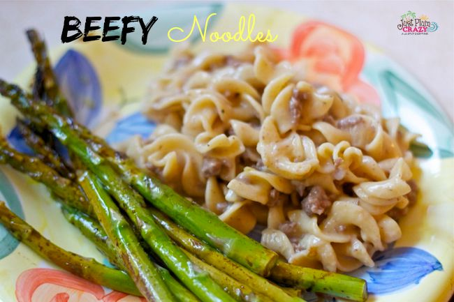 Beefy noodles has become kind of a staple in my house. It is stick-to-your-ribs, guaranteed that my kids will eat, FAST, easy cooking. Nothing fancy here.