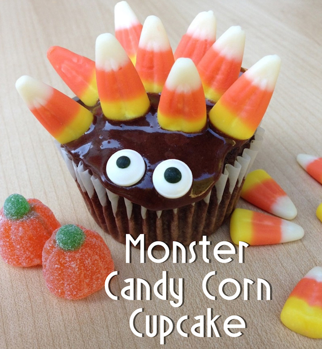 Candy corn monster cupcake