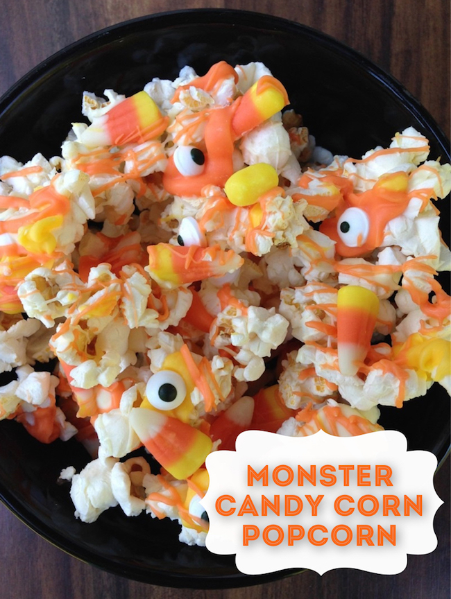 Monster popcorn candy mix with candy corn