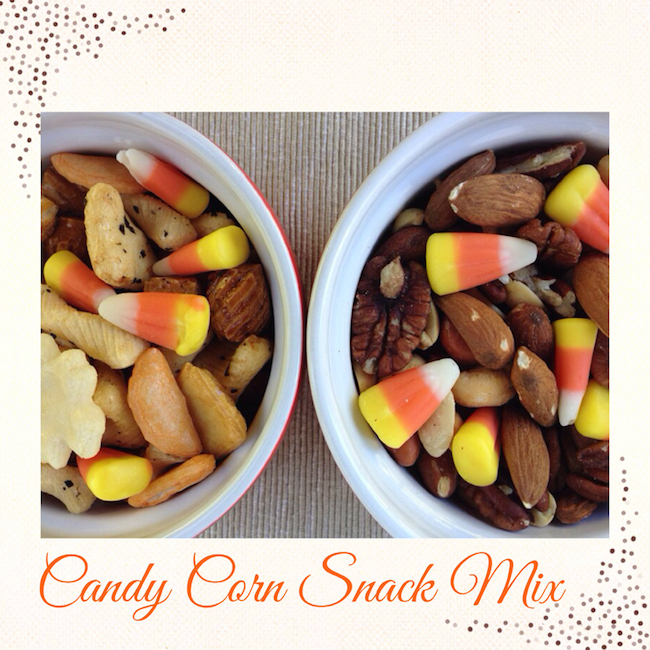 Candy corn snack mix for Halloween