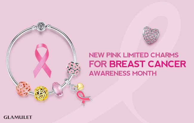 Glamulet has introduced limited edition pink charms & pink bracelets for October. They will donate 50% of sales to a charity that supports Breast Cancer.