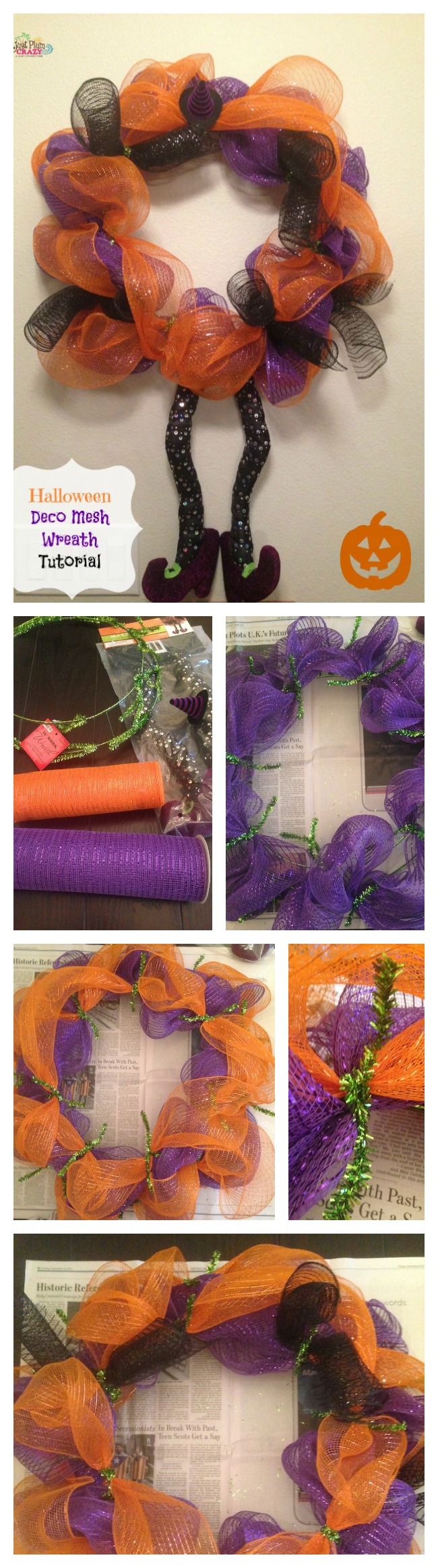 Fall brings ghosts & goblins, apples & pumpkins. Today we have a Deco Mesh Halloween Wreath tutorial. It's easy to make & there is no wrong way to do it.