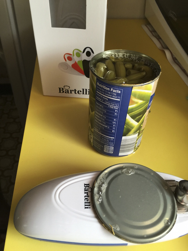 The Bartelli Soft Edge Automatic Electric Can Opener is completely different. It cuts around the outside of the can so there are no sharp edges.