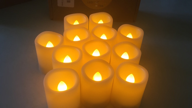 The flameless votive battery operated candles with built in 5-hour on/19-hour off timer , turn on & off automatically every day.