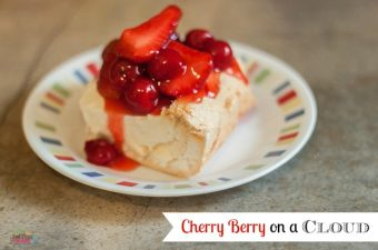 Cherry Berry on a cloud is a decadent & delicious melt in your mouth light, fluffy meringue, cream cheese, marshmallows, and a strawberry cherry topping.