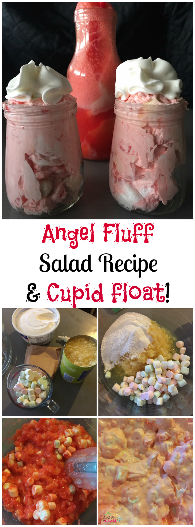 What's great about the Angel Fluff Salad Recipe is that you can make it any color you want for any holiday! I made it pink for Valentine's Day.