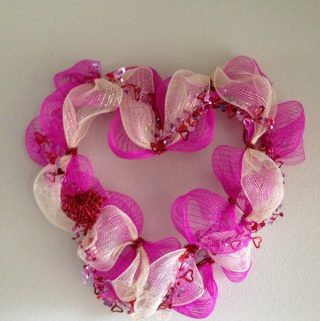Deco Mesh Wreath for Valentines Day