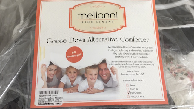 The Mellanni Goose Down Alternative Comforter is very affordably priced for a full/queen and even king size. It has a soft and silky feeling.
