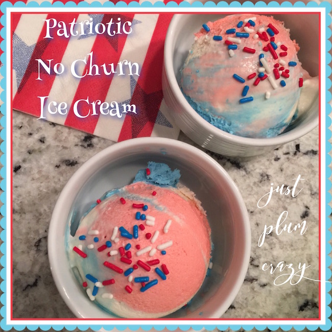 No churn ice cream in red, white and blue