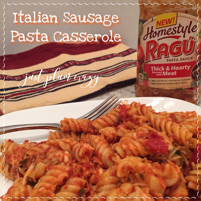 Italian Sausage Pasta Casserole Recipe is made with RAGÚ Homestyle Sauces & is their thickest sauce & you can tell because it hugs the pasta!