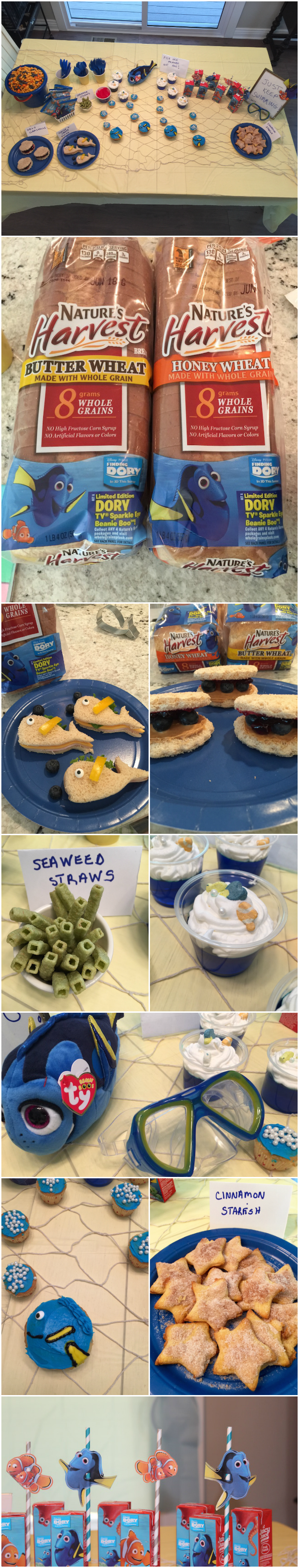 "With Finding Dory out in theaters, I thought it fitting that I create a Finding Dory "" party just for the kids to enjoy with Dory and Clamshell sandwiches."