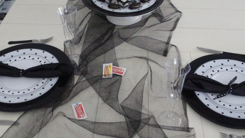 All the black and white polka dot tablescape items are available for purchase on SmartyHadAParty.com as well as many different color options.