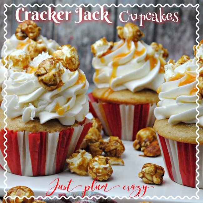 Today we are sharing fun Cracker Jacks Cupcakes. Who doesn't love Cracker Jacks? And combined in a cupcake! It's easy & will be the hit of the party.